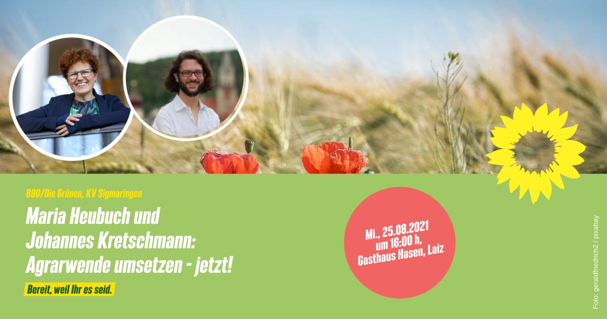 Agrarwende umsetzen – jetzt! Gesprächsrunde mit Maria Heubuch und Johannes Kretschmann